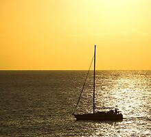 Sunset and a Boat  by Stanislav Sokolov