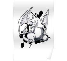 Pokemon - A Charizard Sketch (White Background) Poster