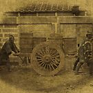 Japanese Coolies Pushing Cart 1886 by T-ShirtsGifts
