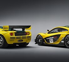 Rear 3/4 of McLaren P1 GTR and F1 GTR by djoc444