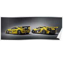 Rear 3/4 of McLaren P1 GTR and F1 GTR Poster