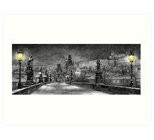 BW Prague Charles Bridge 06 Art Print