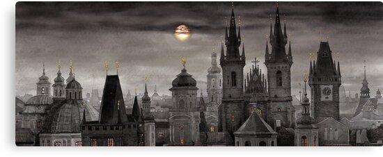 BW Prague City of hundres spiers by Yuriy Shevchuk