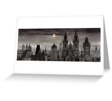 BW Prague City of hundres spiers Greeting Card