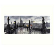 BW Prague Charles Bridge 05 Art Print