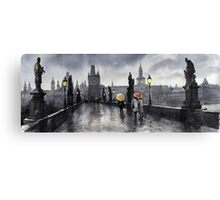 BW Prague Charles Bridge 05 Canvas Print
