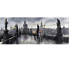 BW Prague Charles Bridge 05 Photographic Print