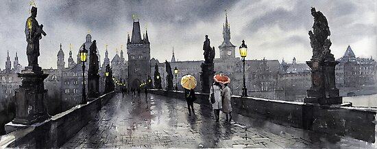 BW Prague Charles Bridge 05 by Yuriy Shevchuk
