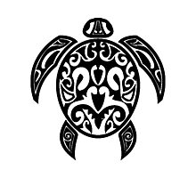 Sea Turtle Tribal Tattoo Photographic Print