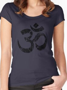 OM Yoga Spiritual Symbol in Distressed Style Women's Fitted Scoop T-Shirt
