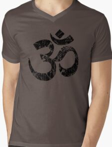 OM Yoga Spiritual Symbol in Distressed Style Mens V-Neck T-Shirt