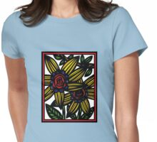 Fissure Flowers Yellow Red Blue Womens Fitted T-Shirt