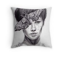 Girl with Moth Throw Pillow