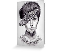Girl with Moth Greeting Card