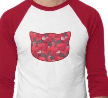 Purrrfect Pattern (Red) Men's Baseball ¾ T-Shirt