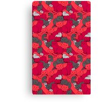 Purrrfect Pattern (Red) Canvas Print