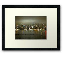 NYC Skyline on a Cloudy Night Framed Print