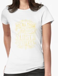 Lost Typography - gold Womens Fitted T-Shirt