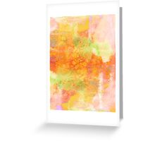 PASTEL IMAGININGS 3 Girly Chic Rainbow Abstract Watercolor Painting Colorful Textural Spring Peach Pink Yellow Green Fine Art Greeting Card