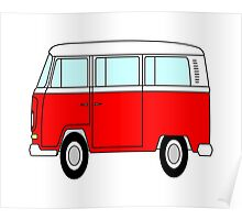 VW Camper T Shirt Red Poster