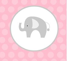 Mod Elephant with Pink Dot Background by JessDesigns