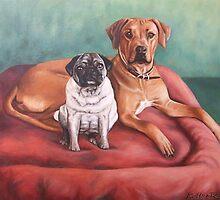 Pug and Rhodesian Ridgeback by Nicole Zeug