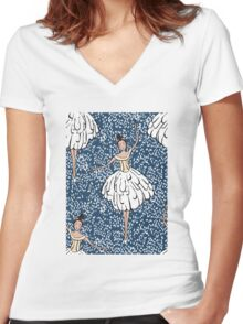Swan Lake Snowstorm Women's Fitted V-Neck T-Shirt