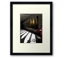 Walk this way...out the door, one cross each, line on the left Framed Print