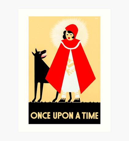 Little Red Riding Hood And The Wolf - Vintage Fables Poster Art Print