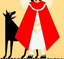 Little Red Riding Hood And The Wolf - Vintage Fables Poster by Mark Tisdale