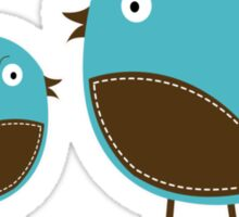 Two Little Birds Blue and Brown  Sticker