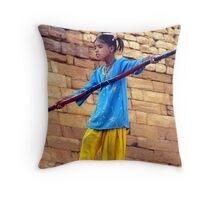 Tightrope Walker in Jaisalmer, India Throw Pillow