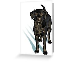 Black Lab in the Snow Greeting Card