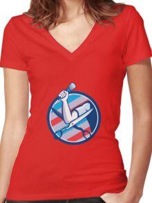 Barber Hand Brush Scissors Circle Retro Women's Fitted V-Neck T-Shirt