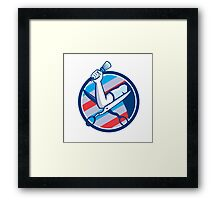 Barber Hand Brush Scissors Circle Retro Framed Print