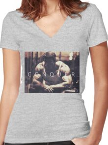 Conquer with Arnold Schwarzenegger Women's Fitted V-Neck T-Shirt