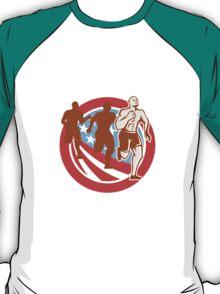 American Crossfit Runners USA Flag Circle Retro  T-Shirt