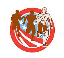American Crossfit Runners USA Flag Circle Retro  by patrimonio