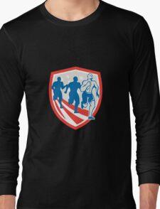 American Crossfit Runners USA Flag Retro Long Sleeve T-Shirt