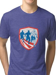 American Crossfit Runners USA Flag Retro Tri-blend T-Shirt
