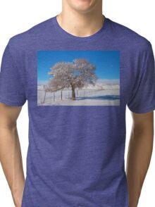 Winter Season On The Range Snow and Blue Sky Tri-blend T-Shirt