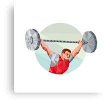 Weightlifter Lifting Barbell Circle Low Polygon Canvas Print
