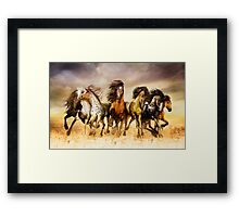 Magnificent Seven Galloping Horses Full Color  Framed Print