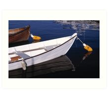 Boats docked on calm water Art Print
