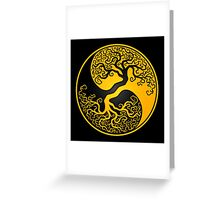 Yellow and Black Tree of Life Yin Yang Greeting Card