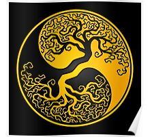 Yellow and Black Tree of Life Yin Yang Poster