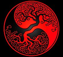 Red and Black Tree of Life Yin Yang by Jeff Bartels