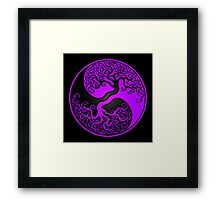 Purple and Black Tree of Life Yin Yang Framed Print