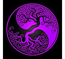 Purple and Black Tree of Life Yin Yang Photographic Print