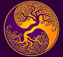 Purple and Yellow Tree of Life Yin Yang by Jeff Bartels